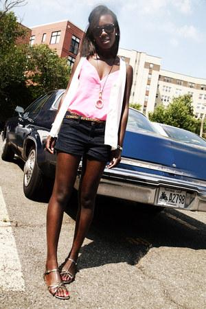 H&M top - Alexander Wang shirt - cynthia rowley bag - J Brand shorts