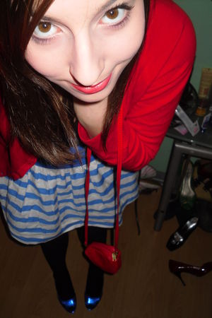 red H&M cardigan - blue H&M skirt