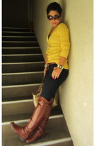 yellow American Eagle sweater - burnt orange Lulus boots - navy Forever 21 jeans