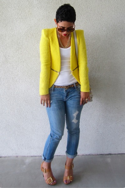 camel Michael Kors pumps - navy Express jeans - yellow Zara blazer