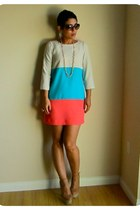 turquoise blue DIY dress - coral DIY dress - cream DIY dress