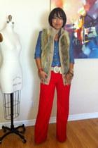 red sewn by me Mimi G pants - navy chambray banana republic blouse