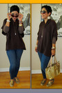 Dark-khaki-report-flats-navy-forever-21-jeans-dark-brown-jj-basics-cape