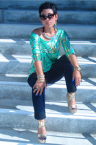 chartreuse DIY top - navy Forever 21 jeans - camel Bebe wedges
