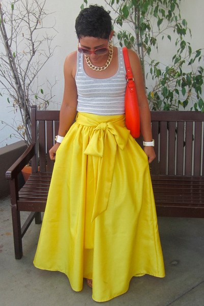 yellow DIY skirt - red kate spade bag - silver Gap t-shirt