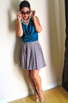teal DIY top - heather gray H&M skirt - camel Cupid pumps
