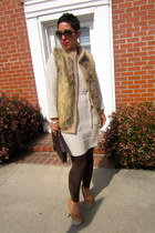 bronze Cupid pumps - beige sweater dress H&M dress