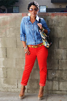 light brown Wild Pair shoes - navy Forever 21 shirt - carrot orange Gap pants