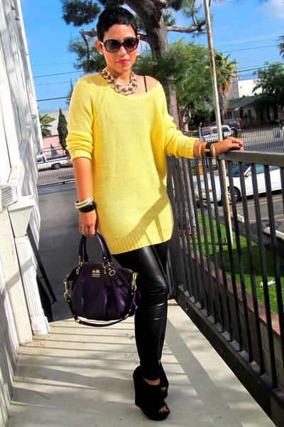 black leather H&M leggings - gold H&M sweater - deep purple coach bag