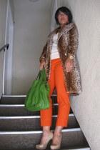 bronze Mimi G coat - green Michael Kors bag - carrot orange Mimi G pants