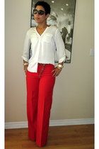 red handmade DIY pants - ivory NY& Co top - camel H&M cape