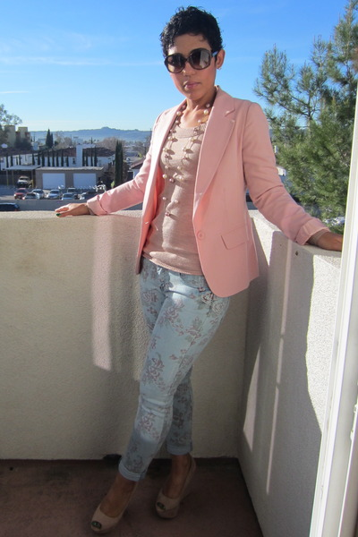 pink Gap sweater - sky blue Forever 21 jeans - pink Forever 21 blazer