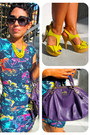 Deep-purple-coach-bag-bcbg-dress-yellow-charlotte-russe-pumps