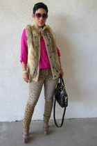 light brown Target jeans - tan Steve Madden boots - tan Michael Kors vest