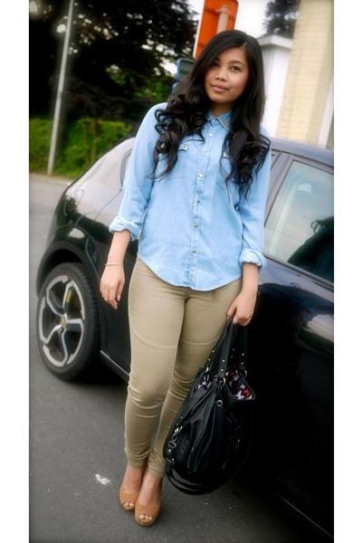 Zara bag - studded Zara blouse - Bershka pumps