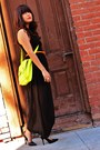 Lime-green-cross-body-target-purse-black-sheer-skirt-forever-21-dress