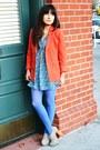Carrot-orange-h-m-blazer-violet-target-tights-sky-blue-h-m-blouse