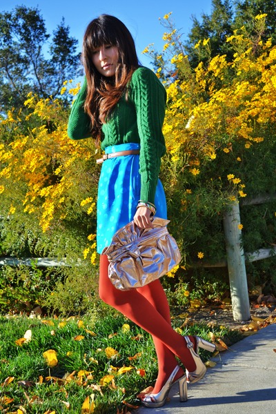 green Zara sweater - tawny Target tights - crossroads purse