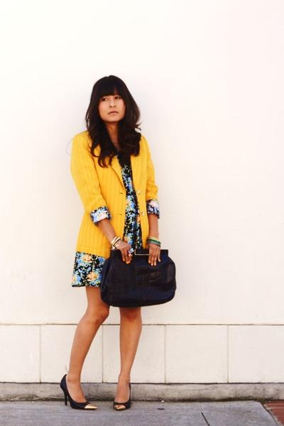 sky blue babydoll Urban Outfitters dress - yellow Michael Kors blazer