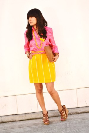 yellow striped vintage skirt - bubble gum polka dot vintage shirt