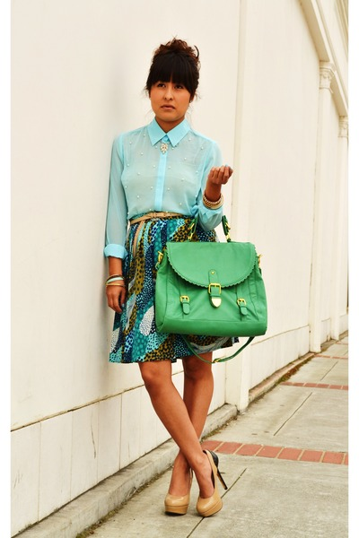 turquoise blue H&M skirt - aquamarine modcloth bag