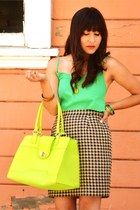 lime green ann taylor bag - green H&M top - camel vintage skirt