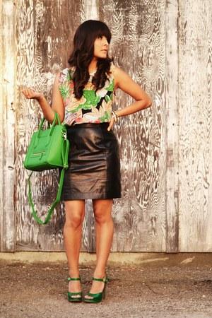 green Target heels - chartreuse Ibiss bag - black vintage skirt