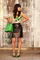 green Target heels - chartreuse Ibiss bag - black vintage skirt