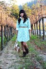 Aquamarine-target-dress-white-american-eagle-shirt-brown-guess-heels