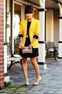 Black-babydoll-h-m-dress-gold-michael-kors-blazer