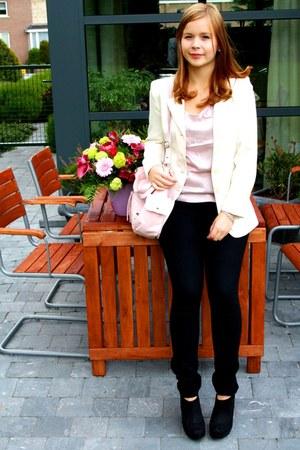 light pink H&M bag - white Naf Naf blazer - light pink H&M blouse