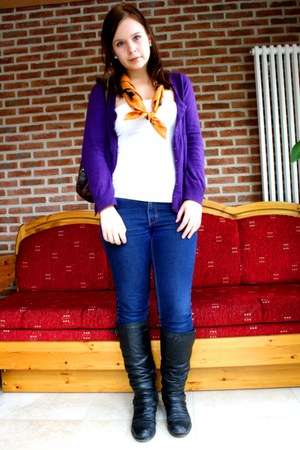 white Hermes bracelet - orange vintage scarf - deep purple H&M cardigan