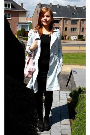 black H&M dress - light blue Naf Naf coat - light pink Jane Norman bag