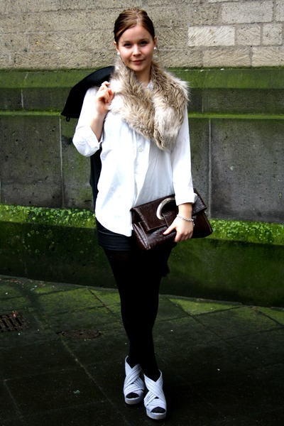 tan H&M scarf - white 2nd Hand shirt - dark brown Italy bag