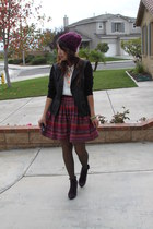 ruby red Nordstrom skirt - purple suede boots - maroon hand made hat