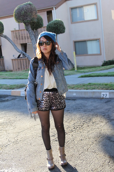 sky blue H&M hat - beige Reports boots - navy H&M jacket - silver Bebe shorts