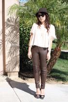 peach silk Nordstrom blouse - light brown banana republic hat