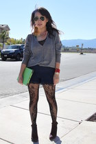black lace tights tights - navy lace shorts H&M shorts - silver cardigan