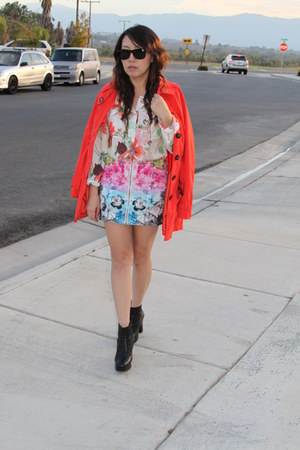 red H&M coat - sky blue H&M blouse - carrot orange H&M skirt