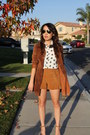 Burnt-orange-suede-leather-vintage-jacket-bronze-h-m-shorts