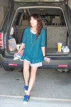 teal blouse - bubble gum Aldo bag - turquoise blue Aldo sneakers