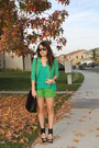 Chartreuse-zara-shorts-olive-green-vintage-blazer-teal-zara-blouse