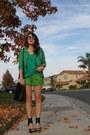 Olive-green-vintage-blazer-chartreuse-zara-shorts-teal-zara-blouse
