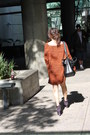 Light-orange-oversize-topshop-cardigan-navy-suede-boots