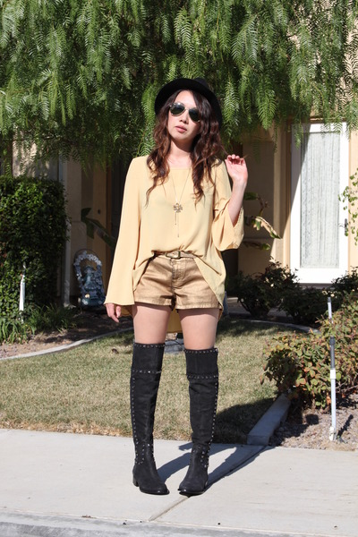 black tory burch boots - black H&amp;M hat - gold shorts - mustard blouse