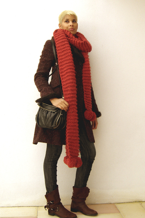 red scarf - brown boots - purple Zara coat - black Axara accessories