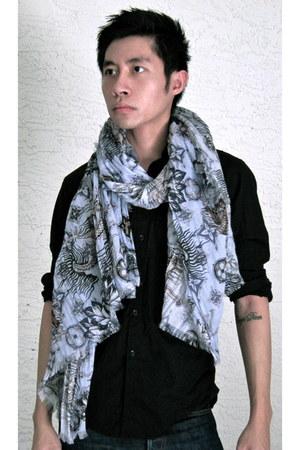 Louis Vuitton scarf - APC jeans - Louis Vuitton shirt
