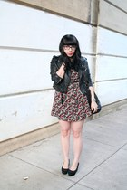 crimson H&M dress - black Nasty Gal jacket - black Target bag