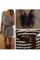 navy striped dress - brown braided belt - brown cut out sandals