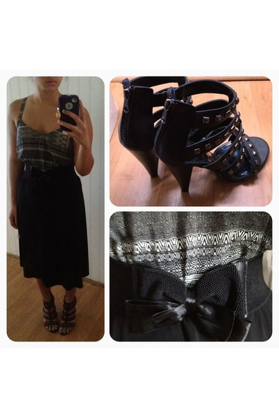 black tribal print kirra top - black studded sandals - black thrifted skirt